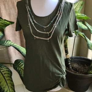 Olive green tee with built-in necklace